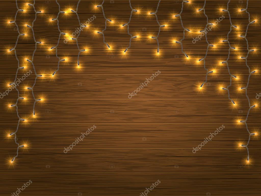 Guirnalda de Navidad de luz Led amarillo — Vector de stock ...