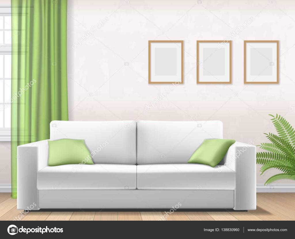 modernes Interieur mit Sofa-Fenster-Bilderrahmen — Stockvektor ...