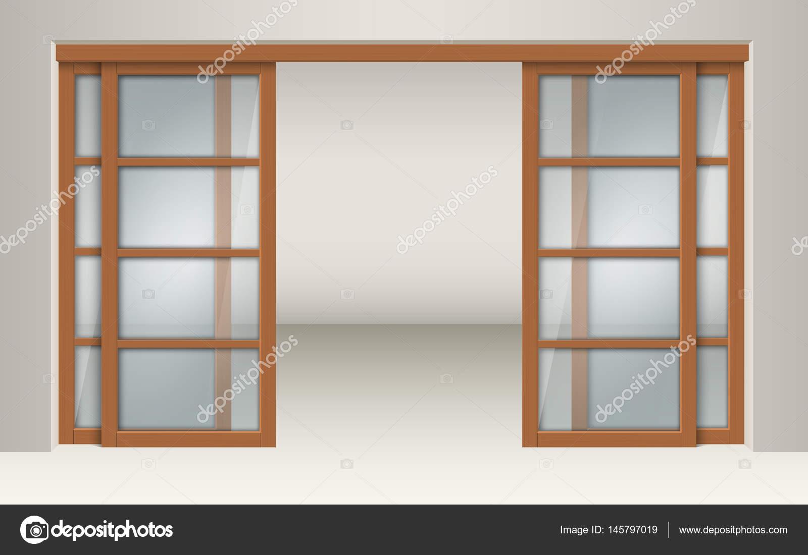 Puertas corredizas de vidrio con dinteles de madera for Puerta corrediza de madera