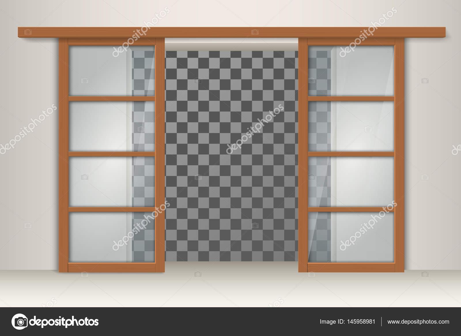 dos puertas correderas de madera vector de stock - Puertas Correderas De Madera