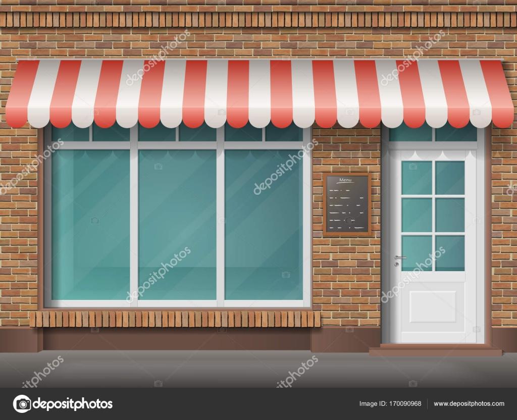 Brick Shop Facade Awning Stock Vector