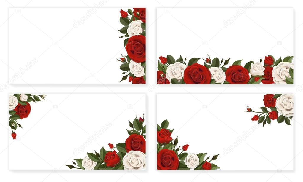 Paper sheet red white rose flowers