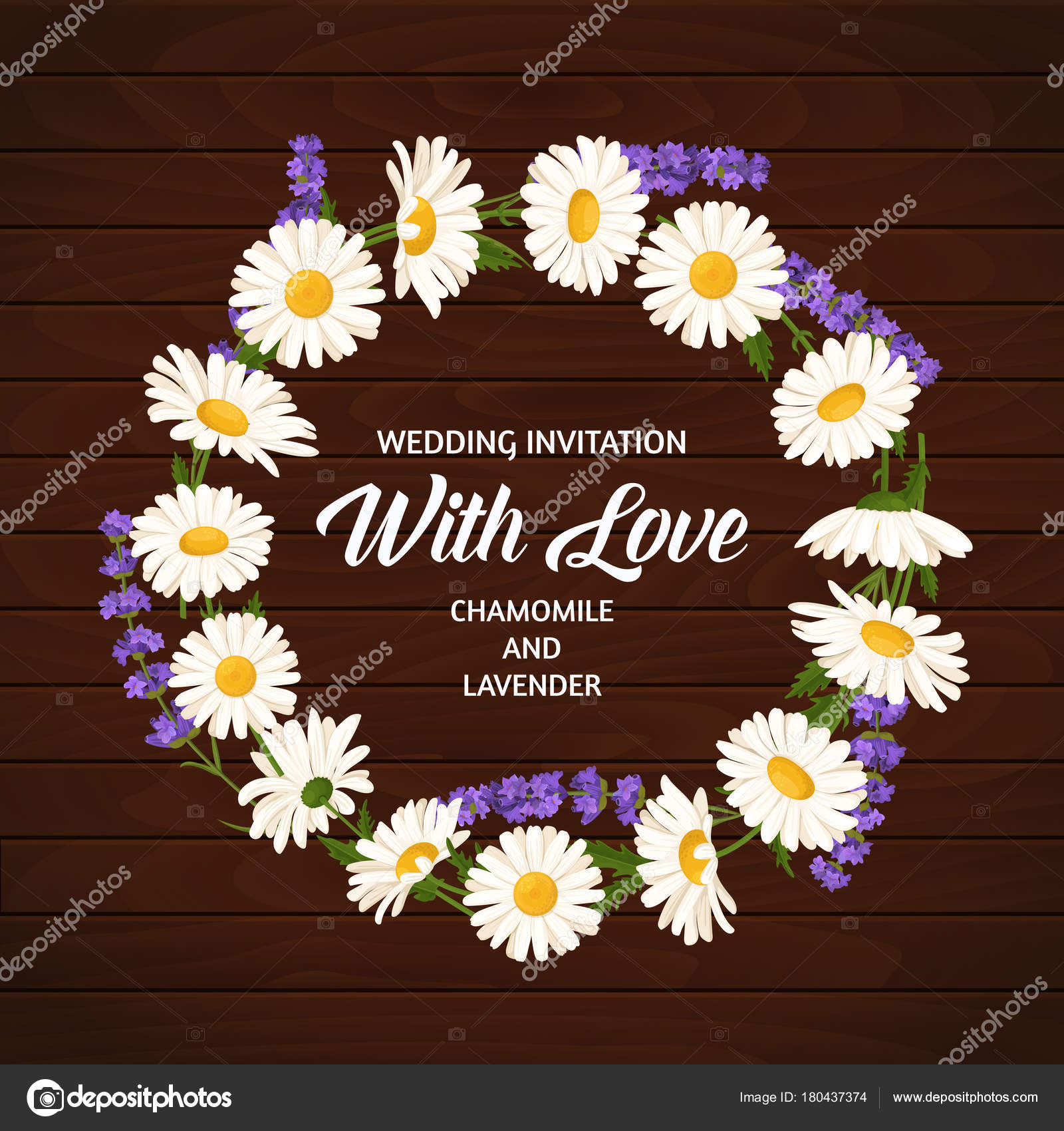 Colorful wedding wreath with lavender and chamomile. Vector floral ...