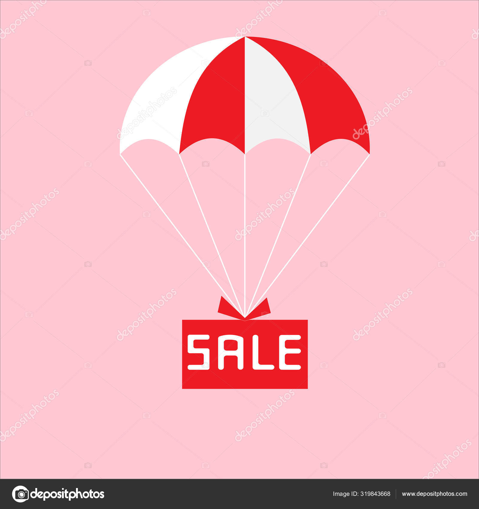 Gift box flies with a parachute, discounts, price collapse