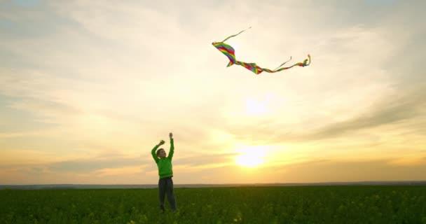 Chlapec si hraje s drakem na obloze při západu slunce. Procházka přírodou. 4K