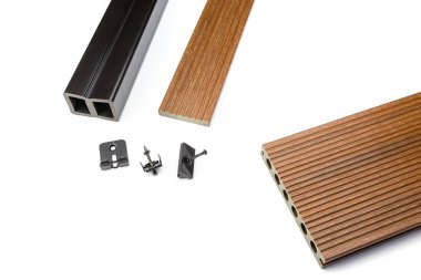 Brown composite decking plank with fixing material