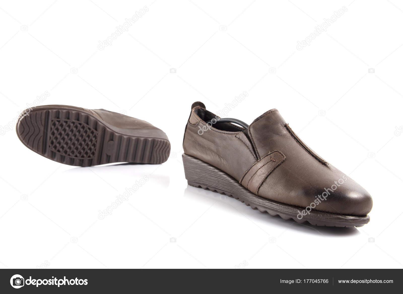 Mujer Marrón Blanco Cuero Sobre Zapatos Producto Aislado Fondo ucK3TFJ1l