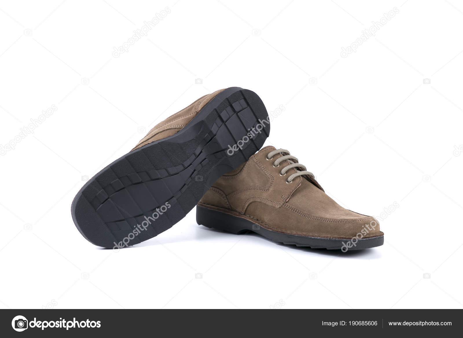 fb94c889b99 Blanco Hombre Calzado Foto Marrón Cuero Producto Stock Sobre Fondo Aislado  Zapatos De gdqzwXz