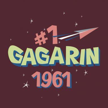 Logo text Gagarin first astronaut USSR space
