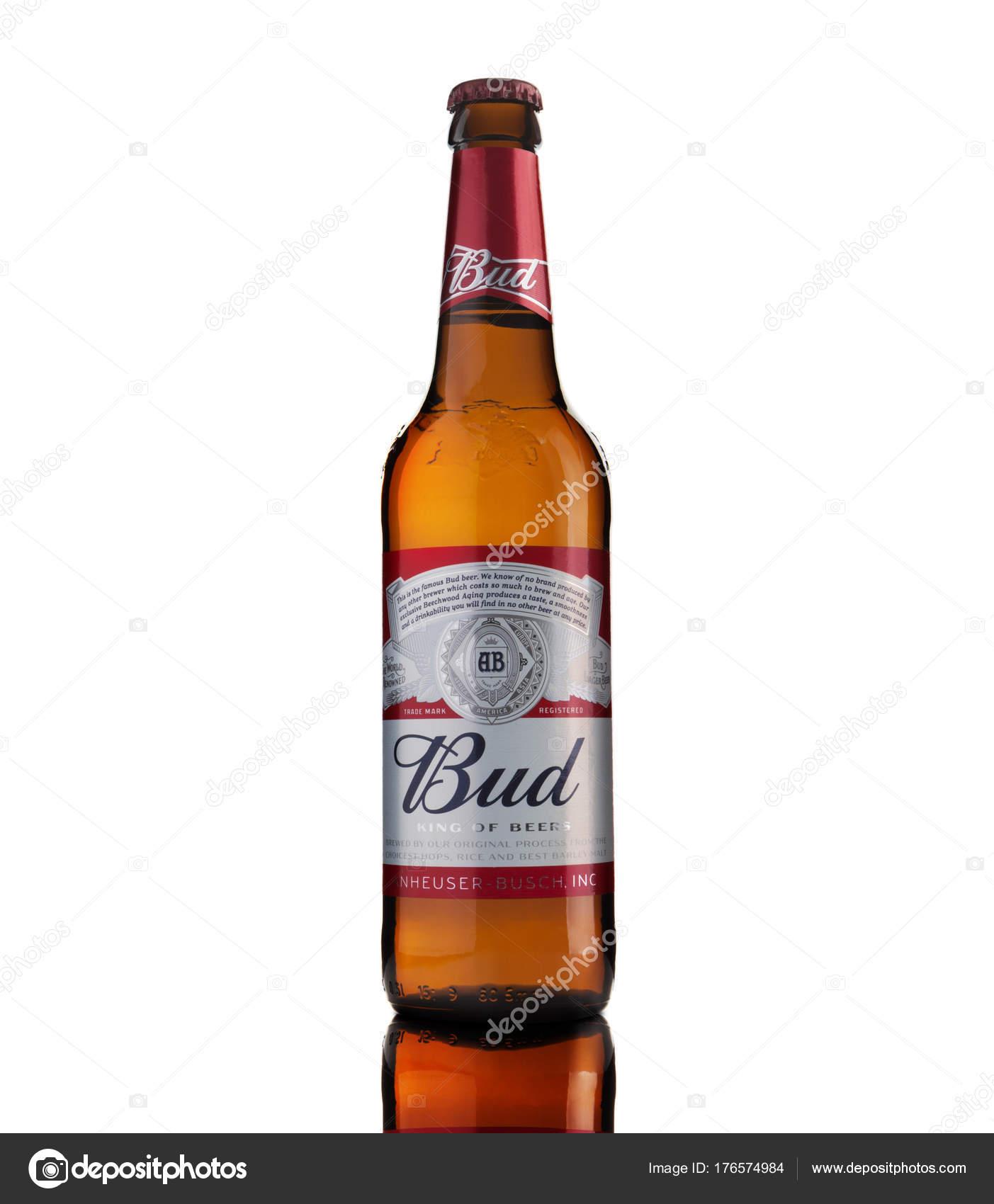 反射で白い背景にバドワイザーのビールのボトル - ストック編集用写真 ...