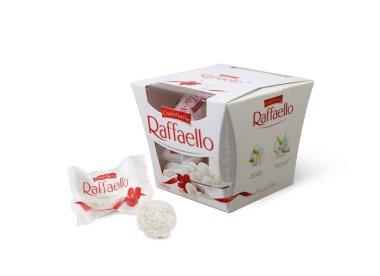 Ferrero Raffaello in a box on white background.