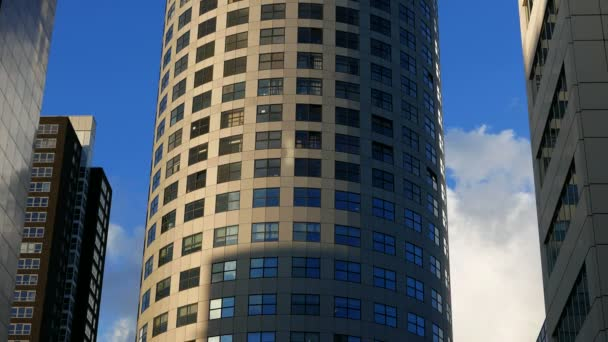 Közepes hosszú alacsony szög létrehozó lövés a napfény besütött a fák a ovális alakú modern city apartman komplexum közepén más épületek.