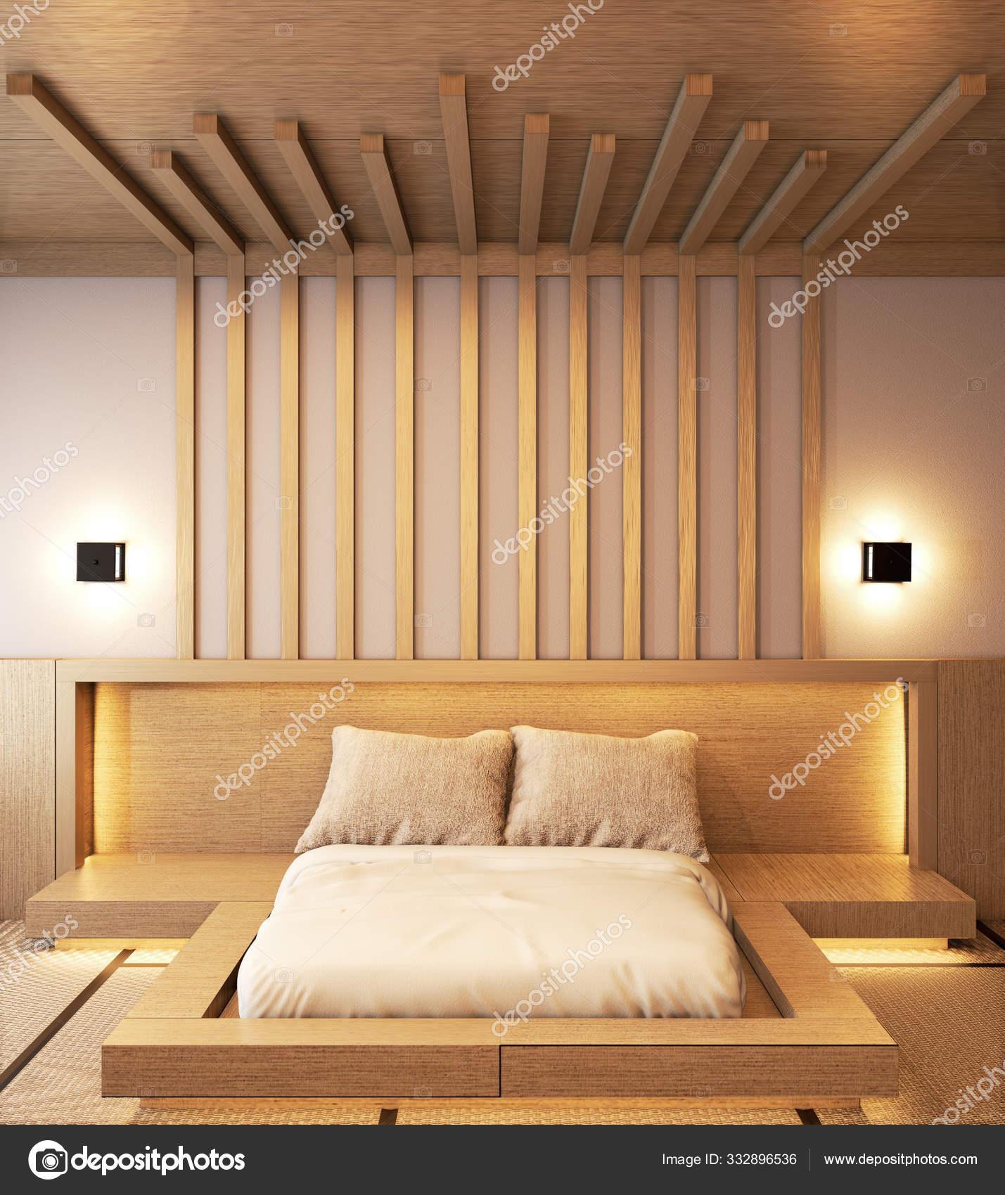 Camera Da Letto Giapponese camera da letto design giapponese in legno con stecche e