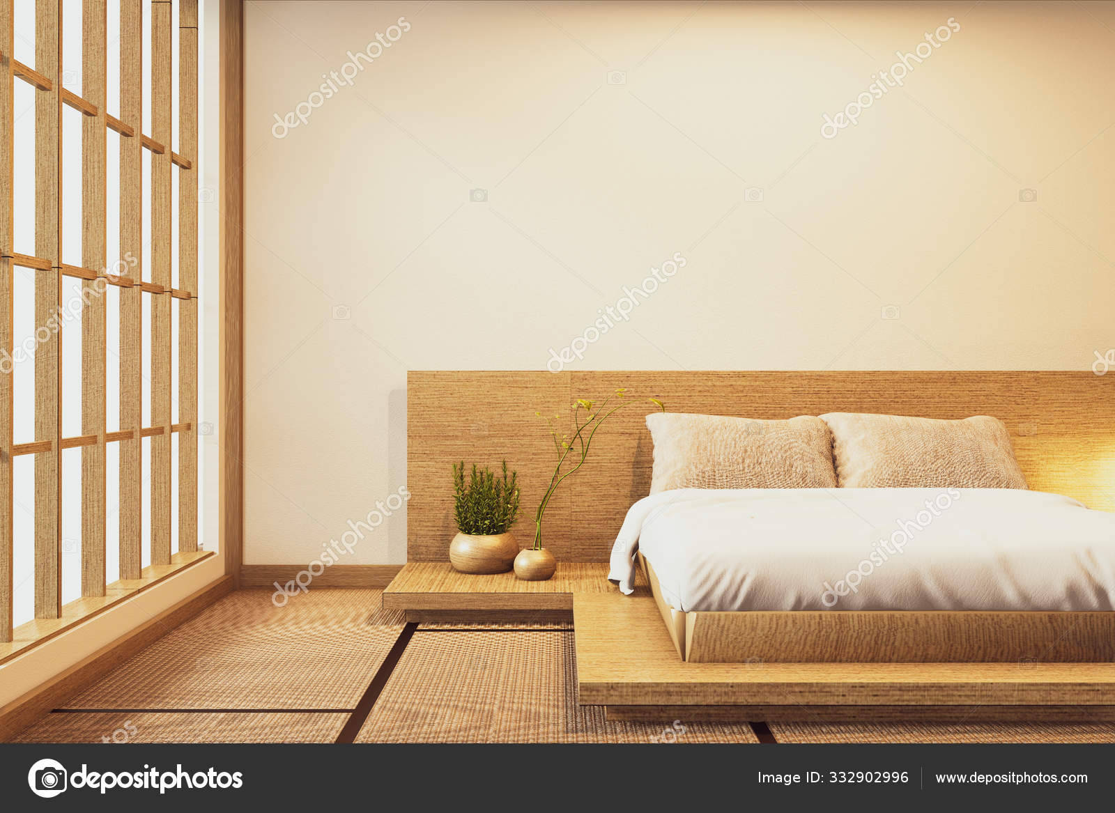 Interior Luxury Modern Japanese Style Bedroom Mock Up Designing Stock Photo C Minny0012011 Gmail Com 332902996