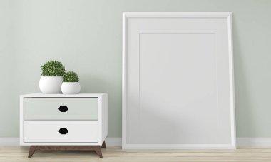 Mock up interior room design .3D rendering stock vector