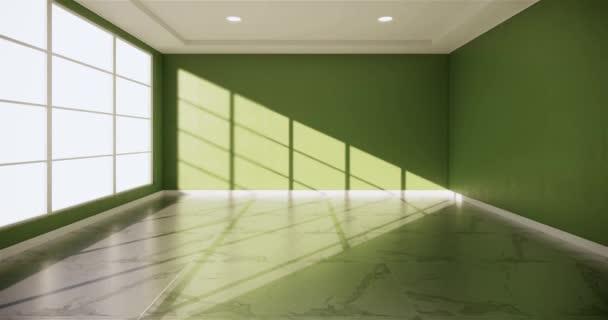 Prázdný pokoj bílý design interiéru na dřevěné podlaze designu interiéru. 3D vykreslování