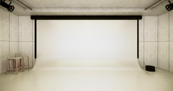 Studio - Moderní filmové studio s bílou obrazovkou. 3D vykreslování