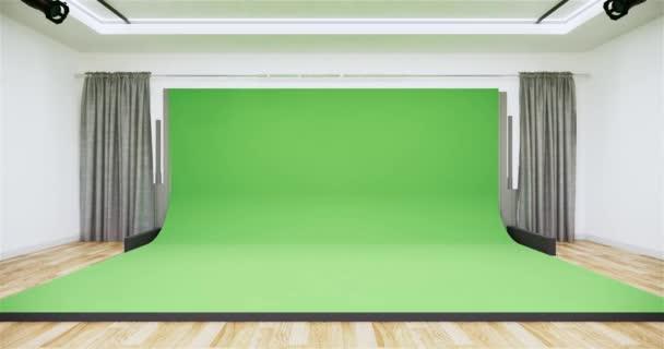 Studio - Modern Film Studio with white Screen. 3D rendering
