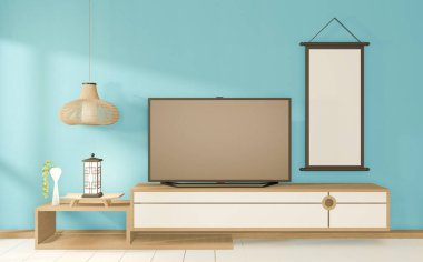 Tv cabinet in tropical mint room Japanese - zen style,minimal designs. 3D rendering stock vector