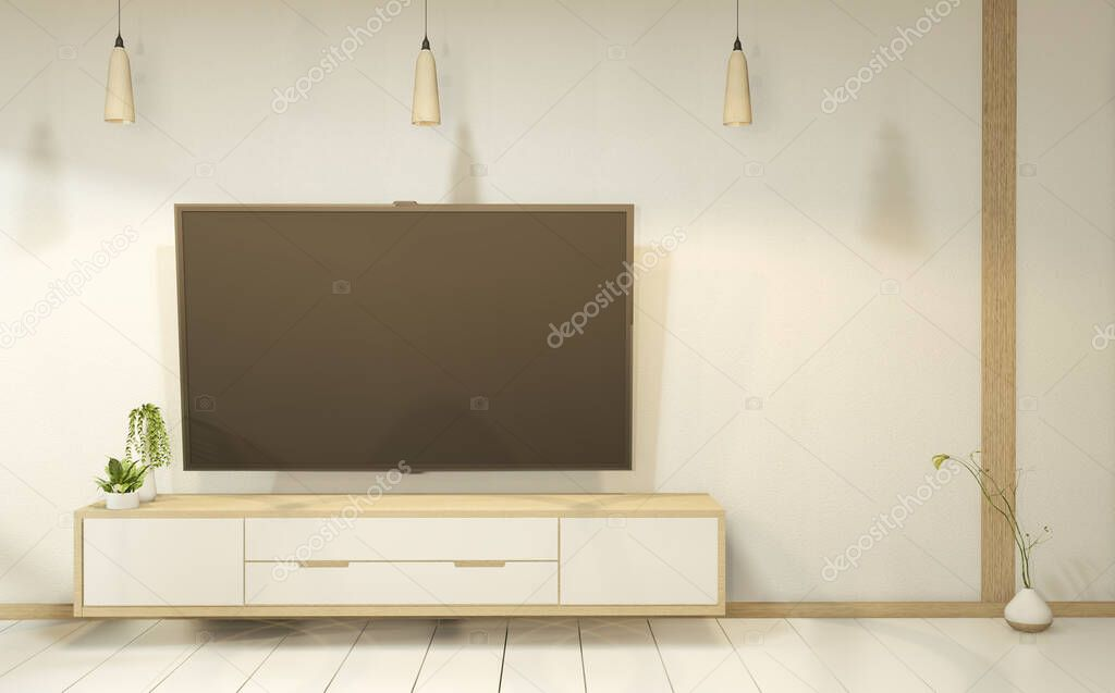 Cabinet wooden in white empty interior room style, 3d rendering stock vector