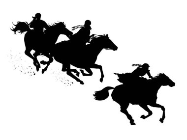 Set of horse silhouettes. A man and a woman are racing on horseback. Oriental racing games. Silhouette of a woman, men on horseback. Vector illustration.
