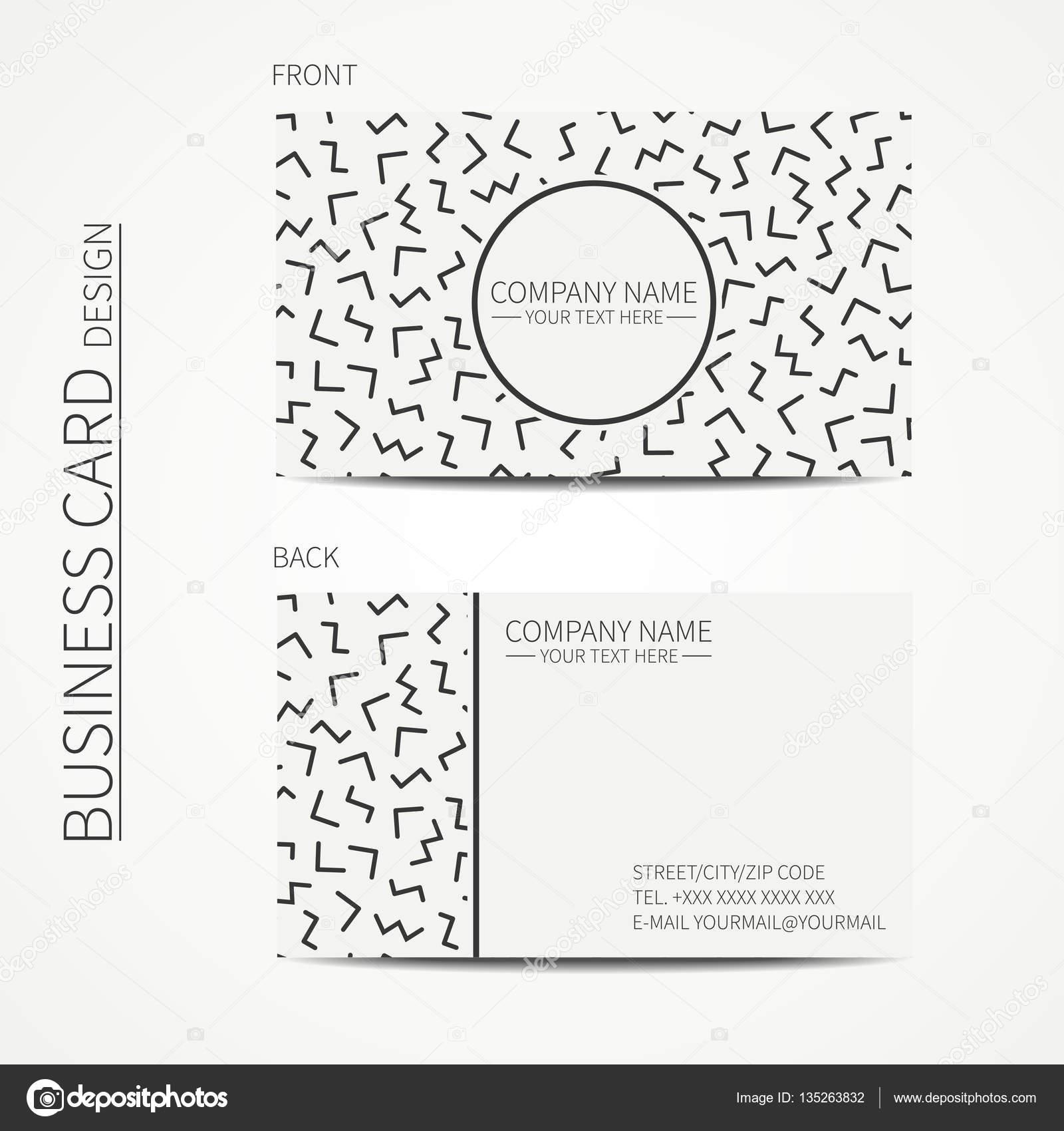 Vektor Einfache Visitenkarten Design Memphis Stil Vorlage