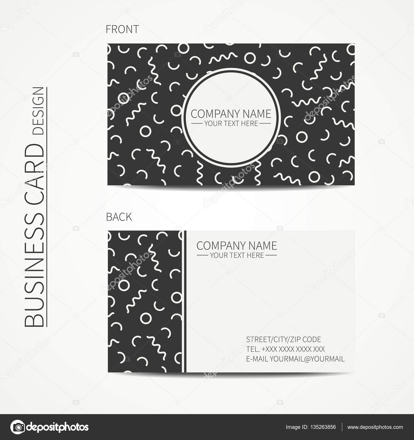 Vector simple business card design Memphis style Template Black