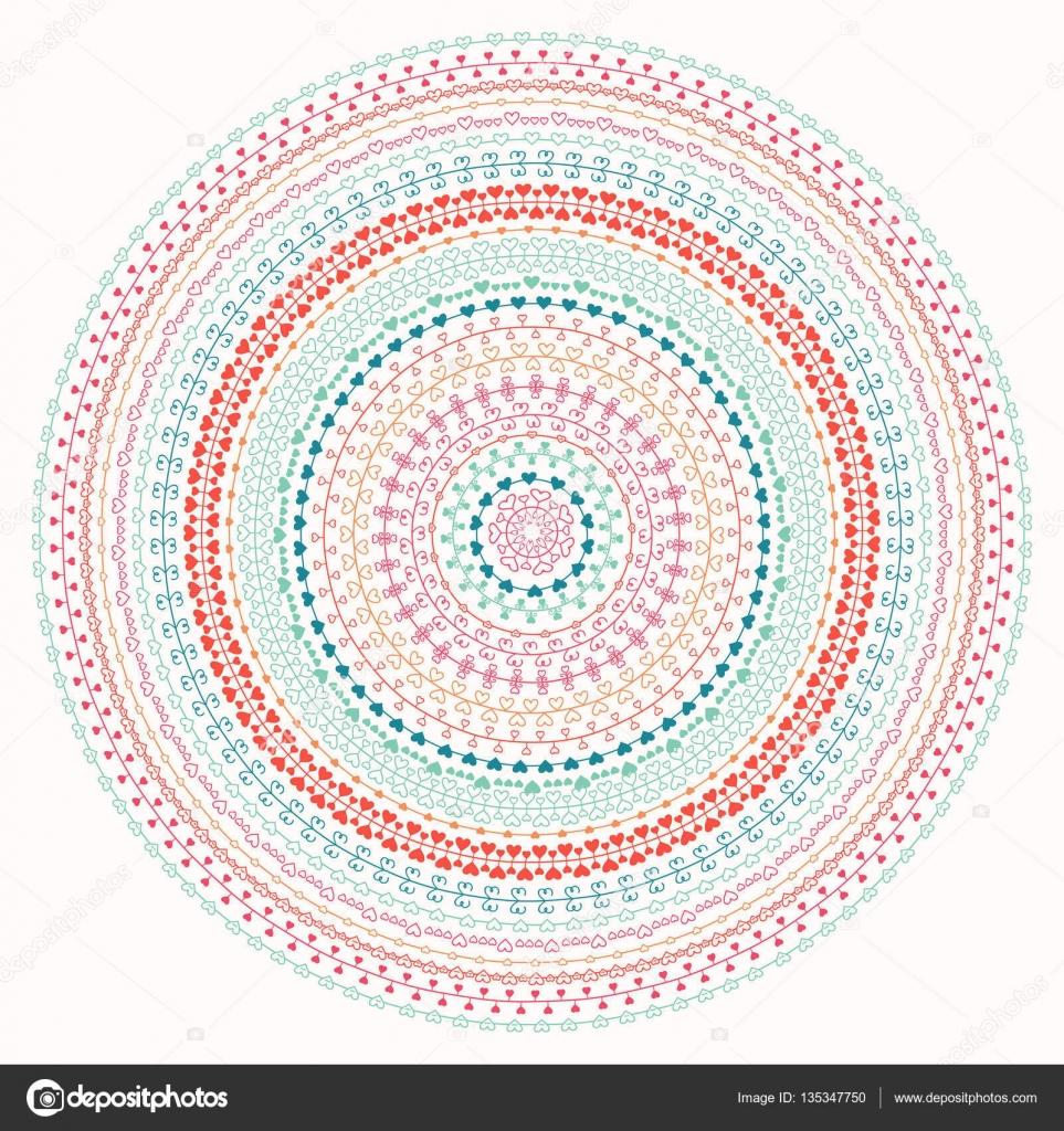 Hand Drawn Mandala Ornament Geometric Pattern Line Border Frame