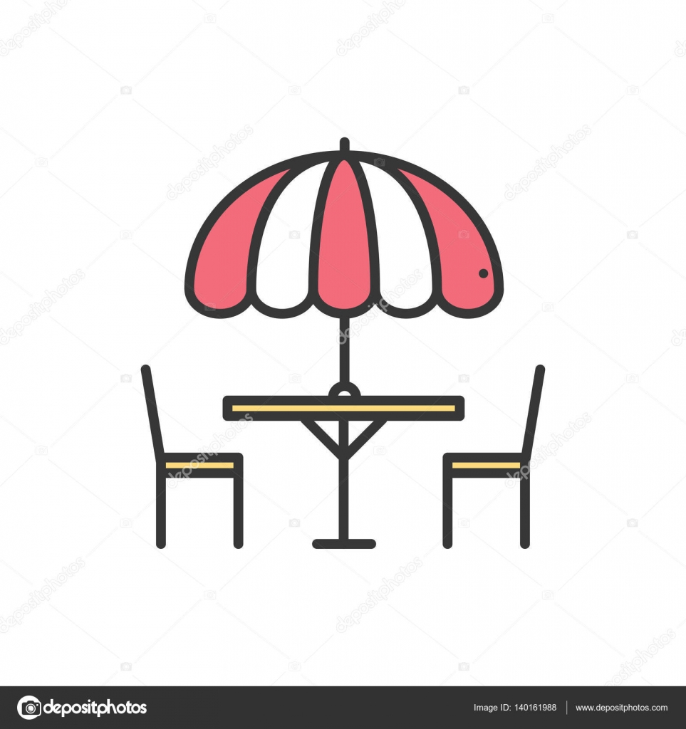 thin line icons set table and chair outside outdoors silhouette