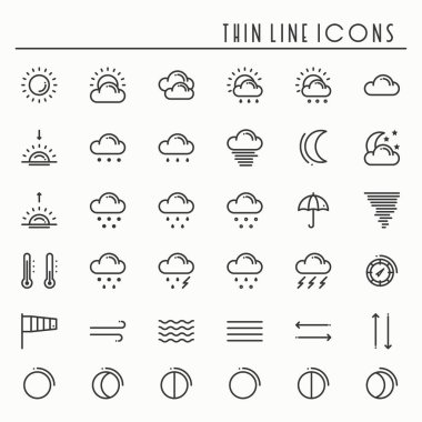 Weather pack line icons set. Meteorology. Weather forecast design elements. Template for mobile app, web and widgets.Vector style linear icons. Isolated illustration. Symbols. Black and white. icon