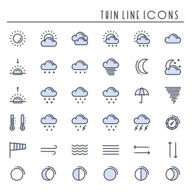 Weather pack line icons set. Meteorology. Weather forecast design elements. Template for mobile app, web and widgets.Vector style linear icons. Isolated illustration. Symbols. Blue icon
