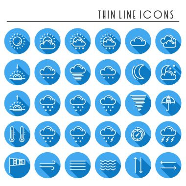 Weather pack line icons set. Meteorology. Weather forecast design elements. Template for mobile app, web and widgets.Vector style linear icons. Isolated illustration. Symbols icon