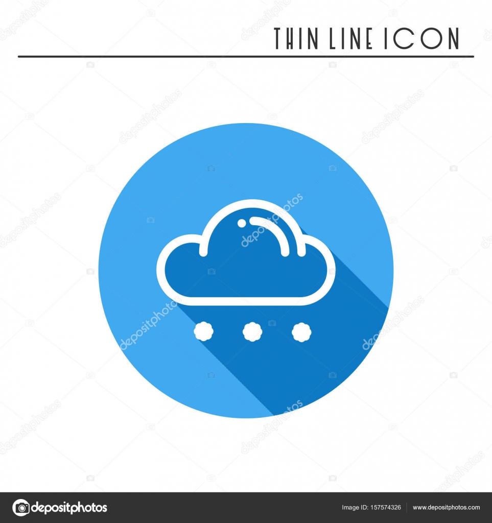 Cloud Sky Rain Line Simple Icon Weather Symbols Meteorology
