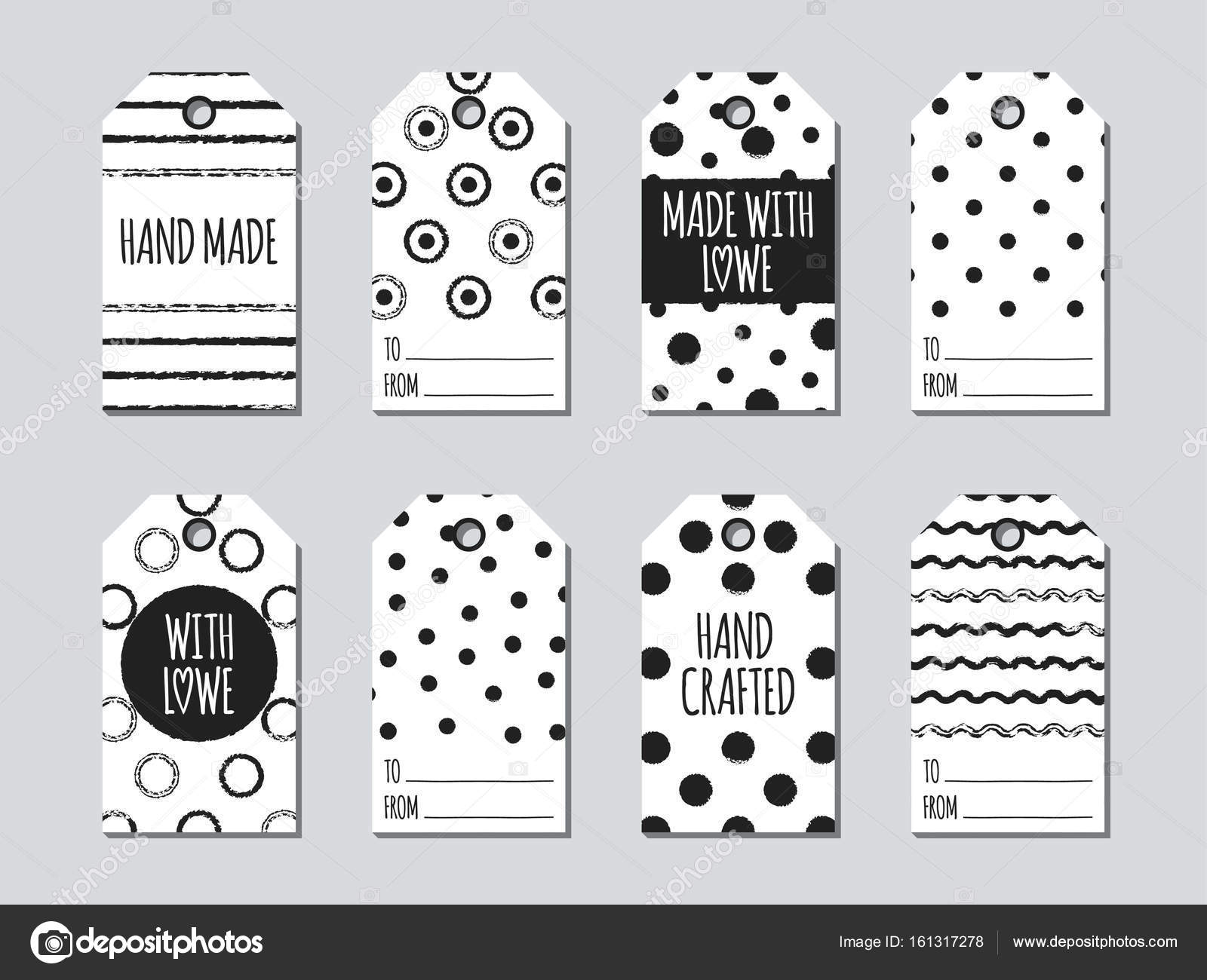 gift tags and cards set with hand drawn elements collection of