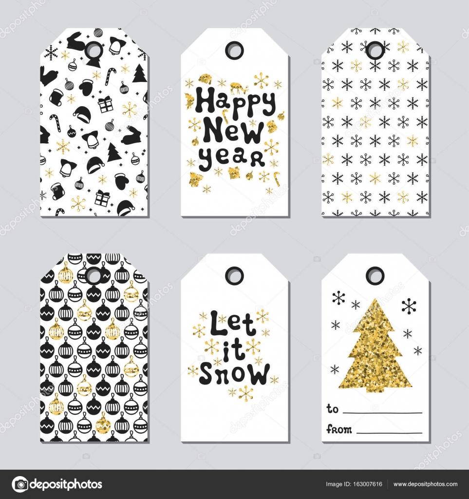 etiquettes de cadeaux de no l et du nouvel an jeu de cartes de no l or l ment dessin de la. Black Bedroom Furniture Sets. Home Design Ideas