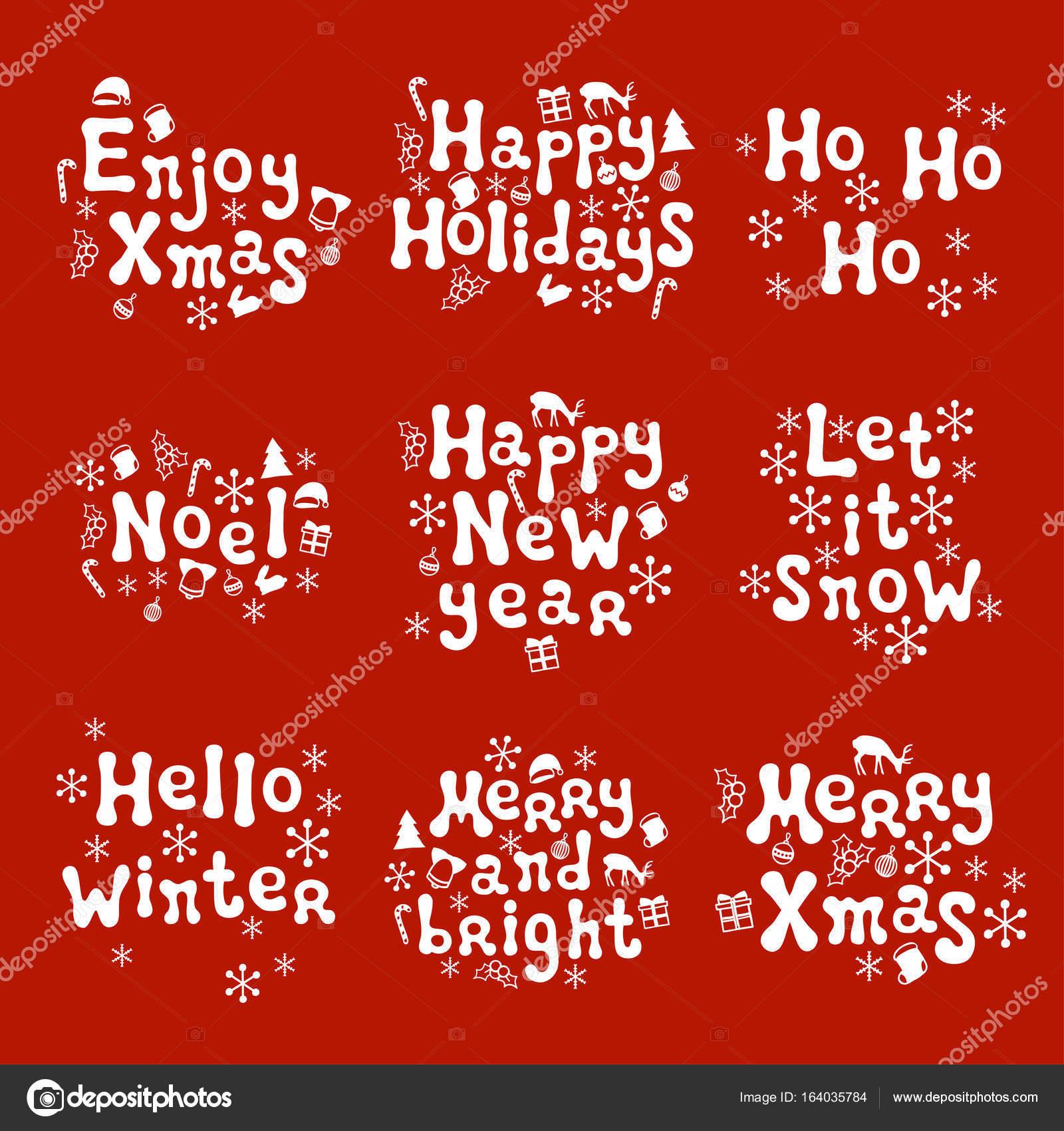 Christmas And New Year Calligraphy Phrases Set Handwritten Brush