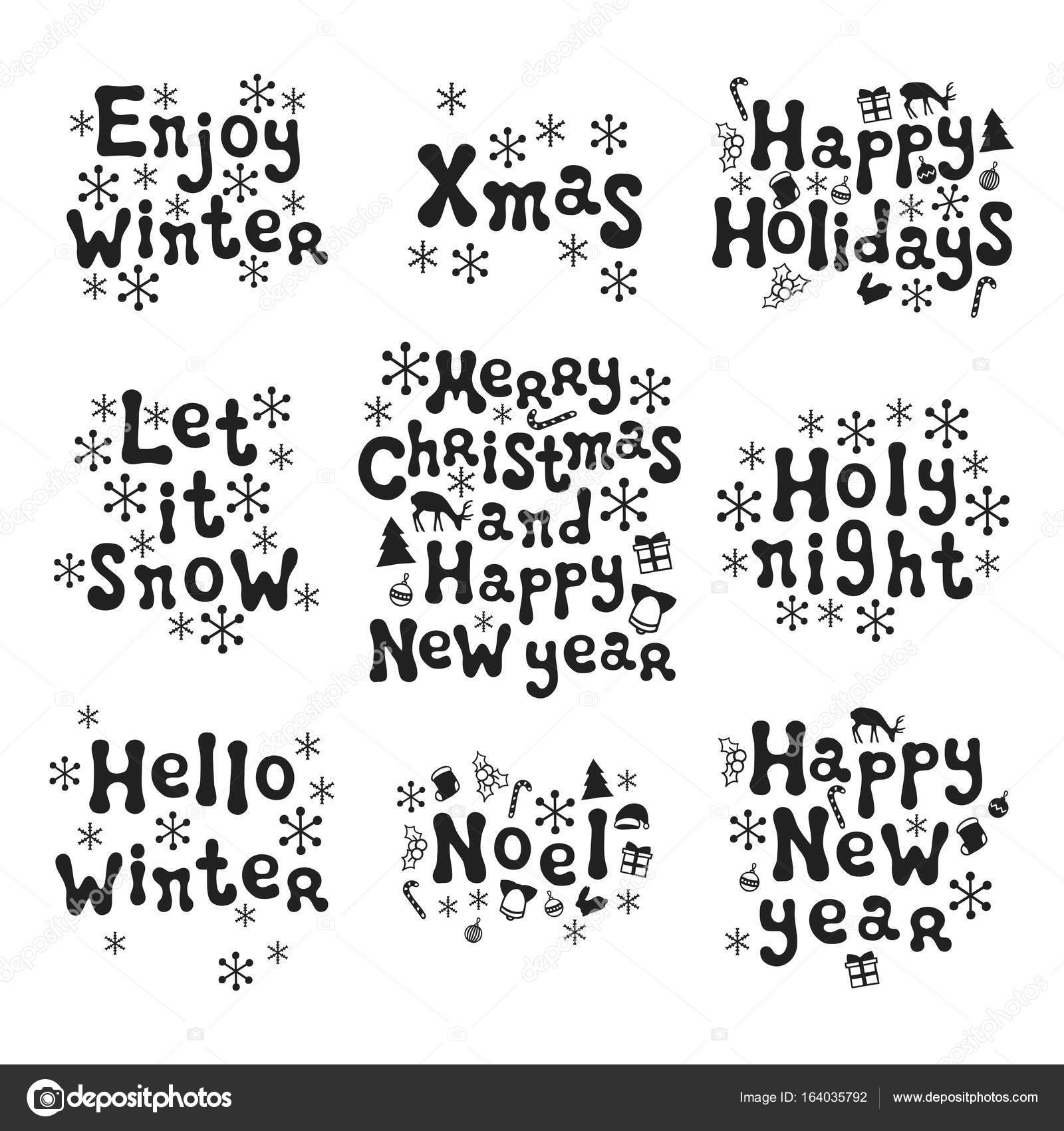 Christmas and new year calligraphy phrases set handwritten brush xmas phrases hand drawn design elements happy holidays greeting card text christmas calligraphy vector by krolja kristyandbryce Choice Image