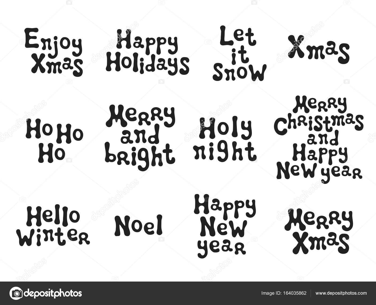 Christmas and New Year calligraphy phrases set. Handwritten brush ...