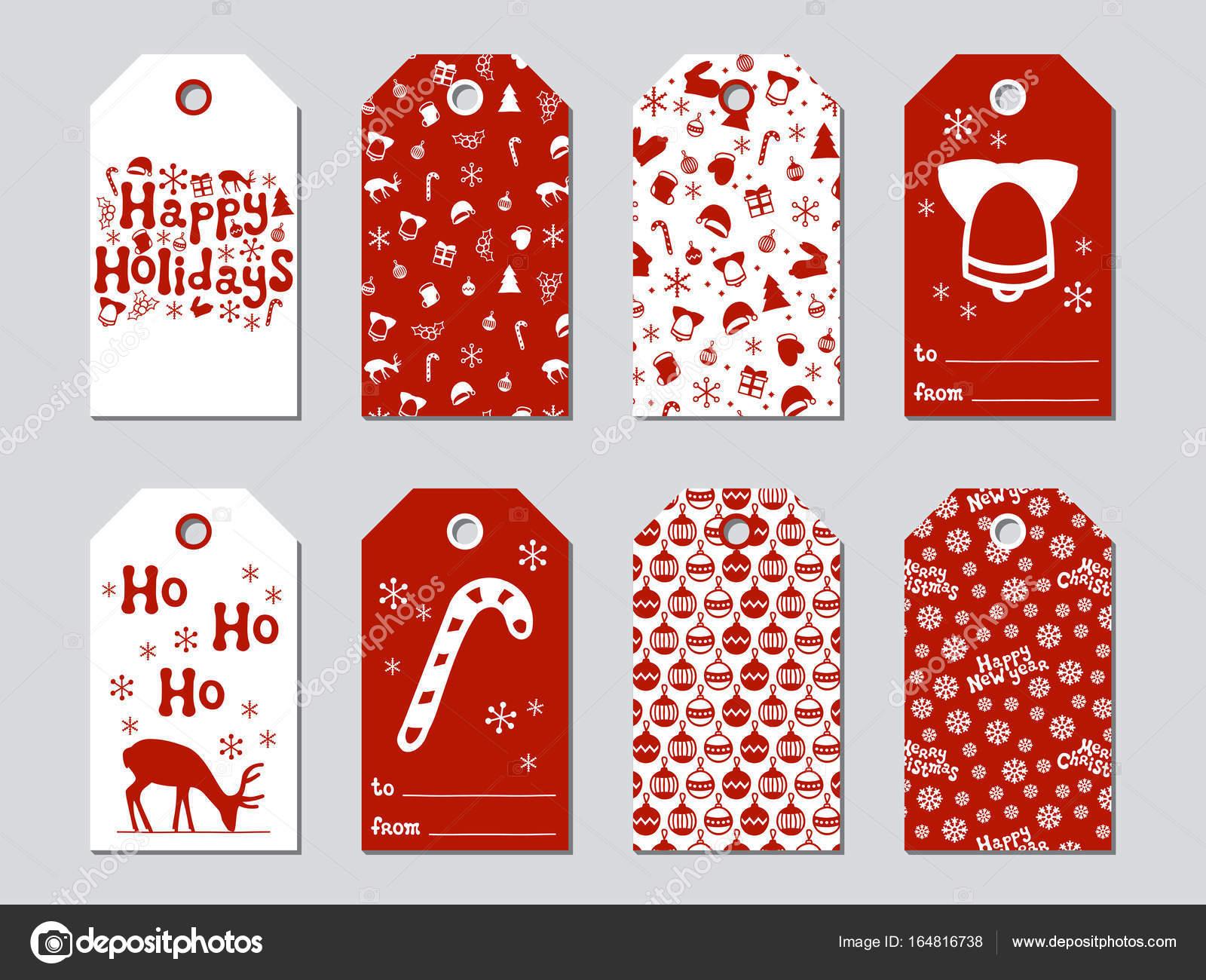 etiquetas de regalo de navidad y a o nuevo tarjetas de juego de navidad elementos dibujados a. Black Bedroom Furniture Sets. Home Design Ideas
