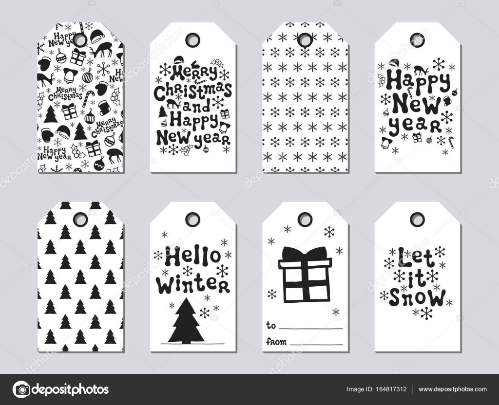 christmas and new year gift tags cards xmas set hand drawn elements collection of holiday paper label in black and white seasonal badge sale design