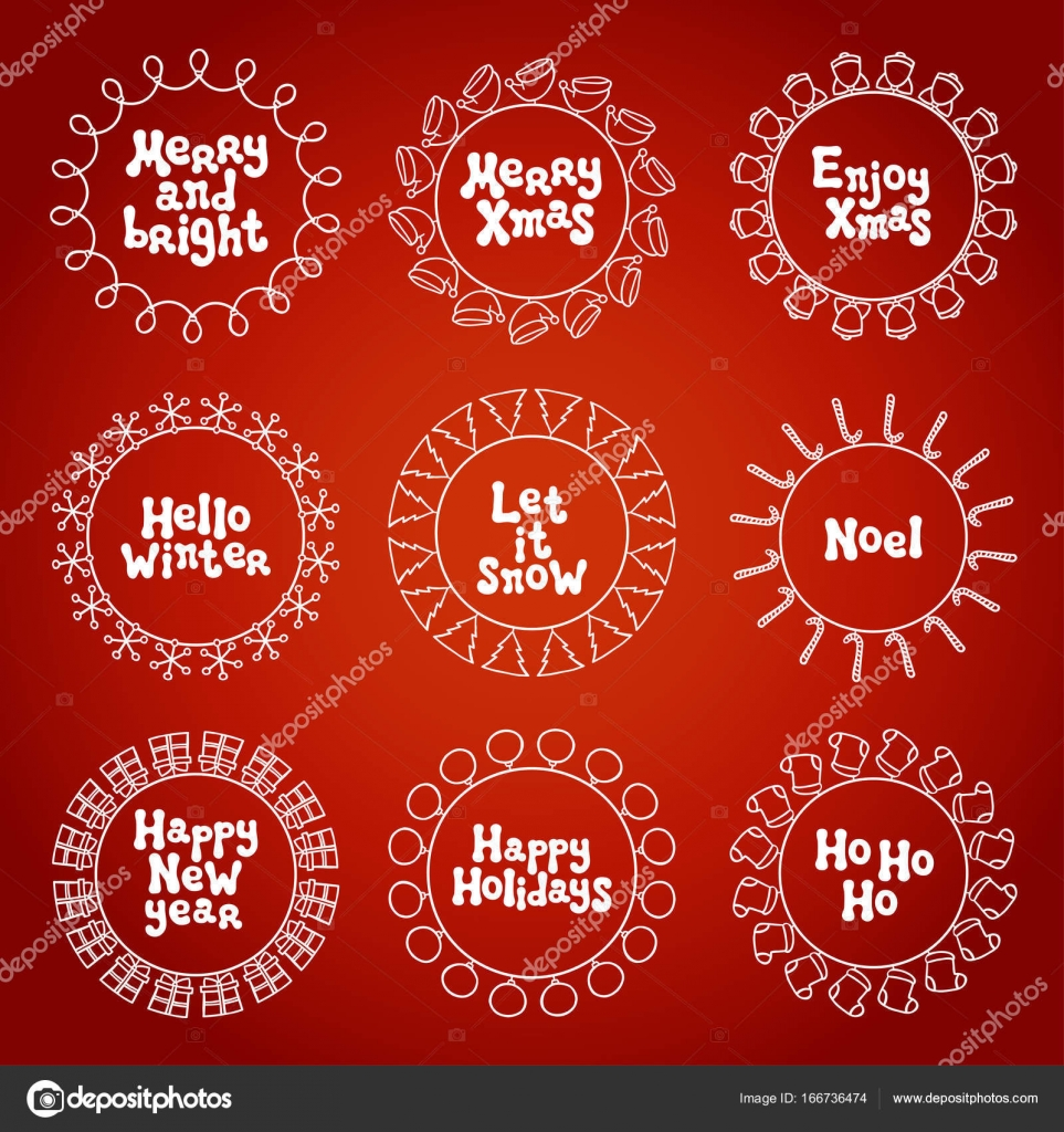 Merry christmas new year wishes labels stickers and badges hand merry christmas new year wishes labels stickers and badges hand drawn framework frame calligraphy m4hsunfo