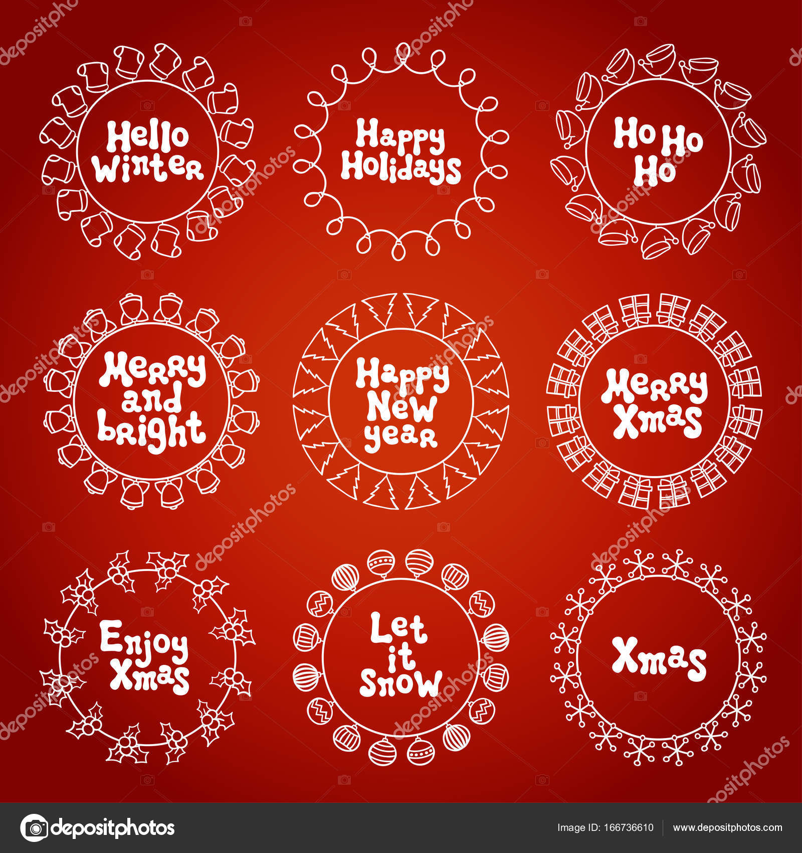 merry christmas new year wishes labels stickers and badges hand drawn framework frame calligraphy phrase handwritten lettering xmas phrase set