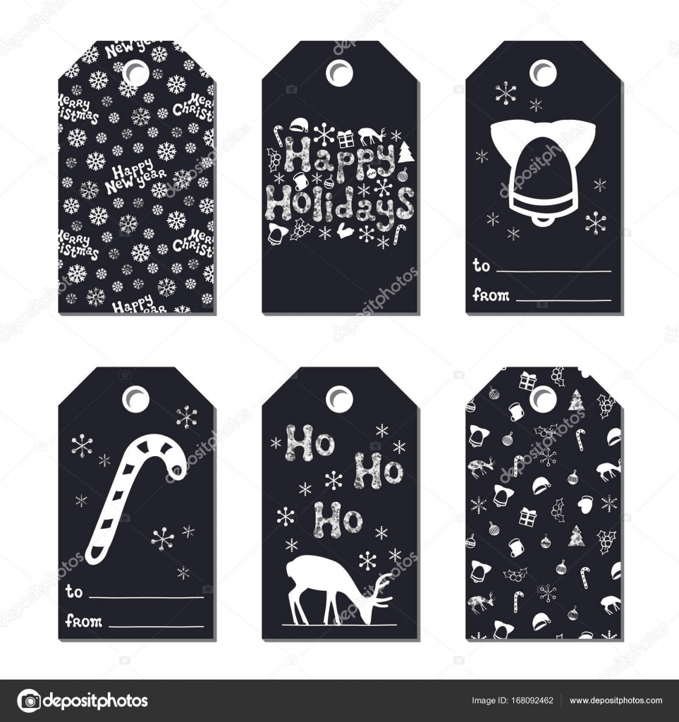 christmas new year gift tags cards xmas silver set hand drawn element collection of holiday paper label in black and white seasonal badge sale design