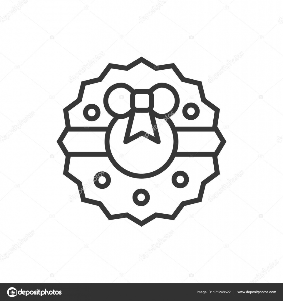 Christmas Wreath With Bow Thin Line Icon New Year Celebration Outline Decorated Pictogram Xmas Winter Element Vector Simple Flat Linear Design