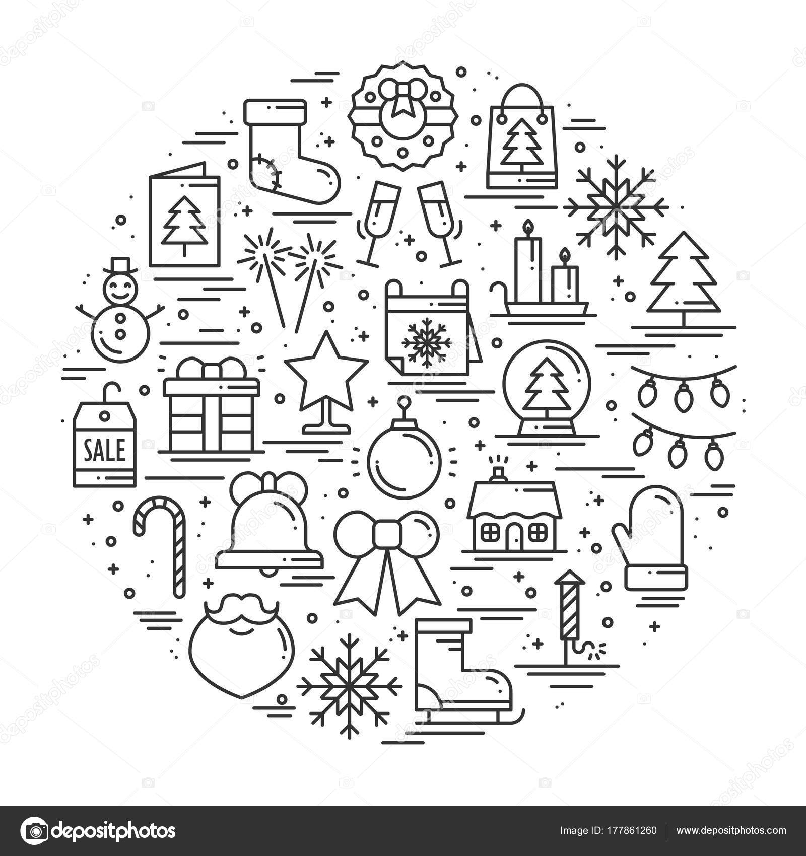 Round line christmas illustration with different winter symbols ...
