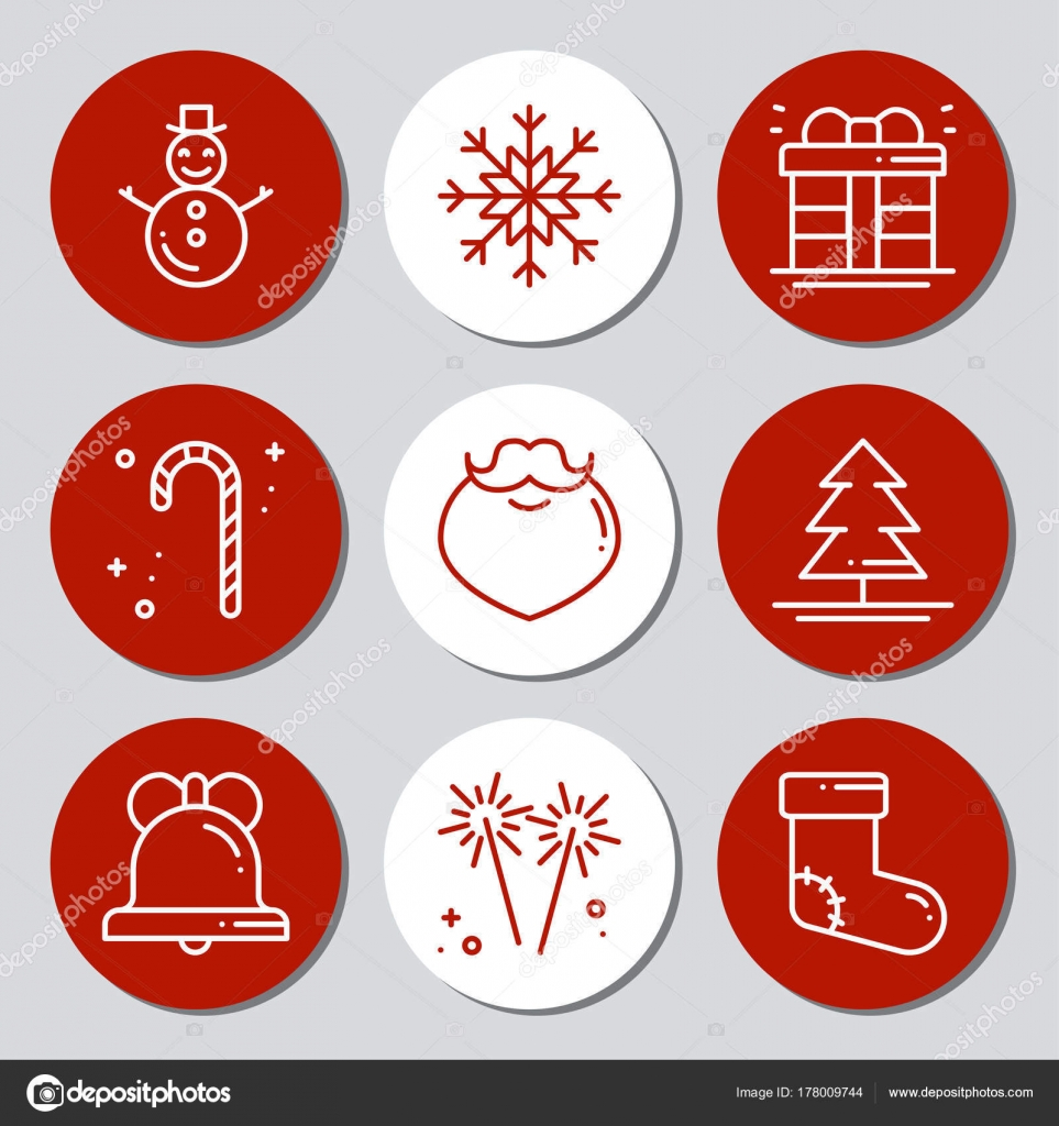 christmas new year icons gift round stickers labels xmas set hand drawn decorative element collection of holiday christmas stickers in black white - Decorative Christmas Labels