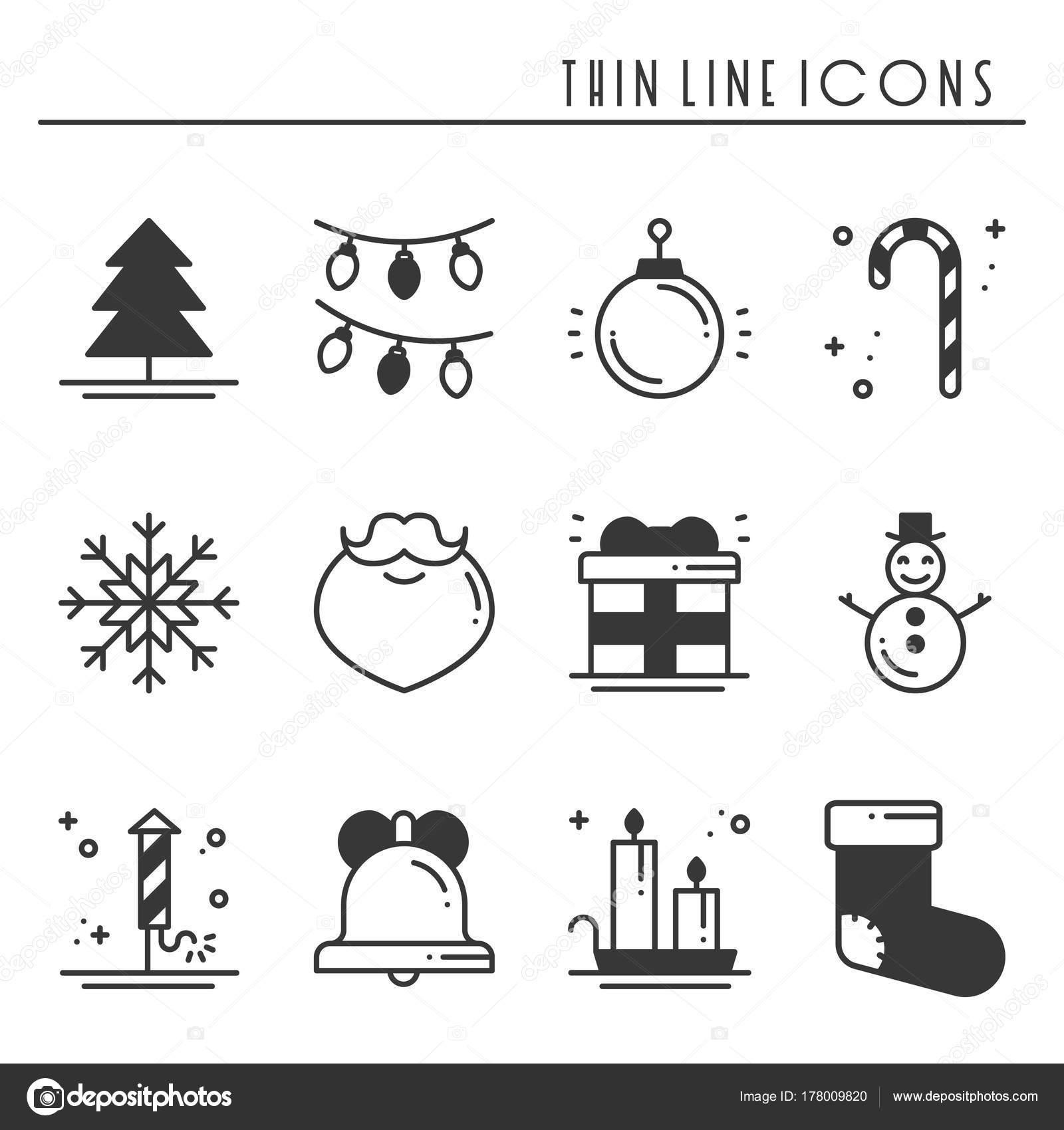 クリスマス ホリデーの薄いライン シルエット アイコンを設定します