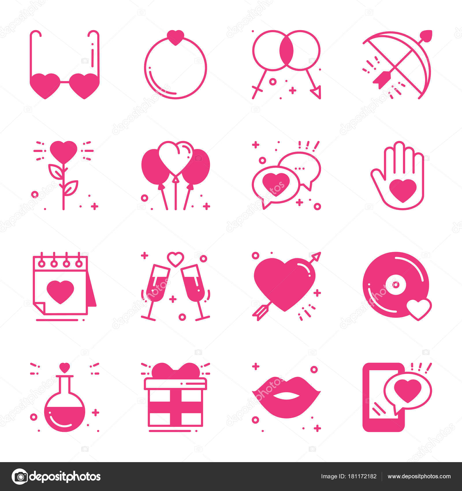 Love line icons set. Happy Valentine s day pink silhouette signs and ...