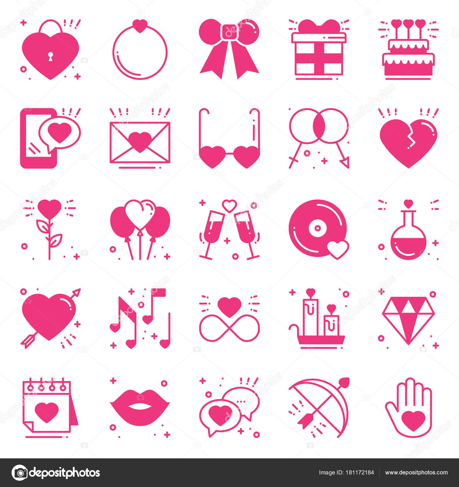 Love Line Icons Set Happy Valentine S Day Pink Silhouette Signs And