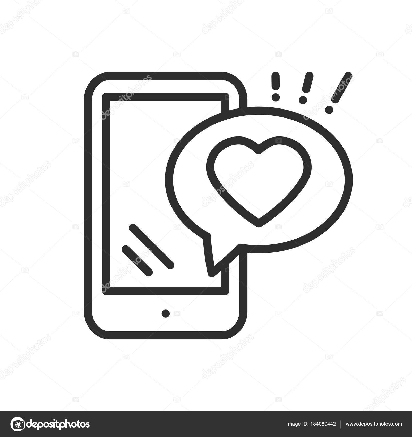Smartphone with heart emoji message on screen line icon love smartphone with heart emoji message on screen line icon love confession like sign and symbol biocorpaavc